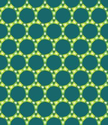 Obraz Wektor bez szwu kolorowy wzór nowoczesnej geometrii koła, kolor zielony abstrakcyjne geometryczne tło, trendy wielobarwny druk, retro tekstury, projektowanie mody hipster