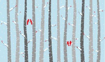 Obraz Wektor Brzoza lub Aspen Drzewa w śniegu i miłości Ptaki