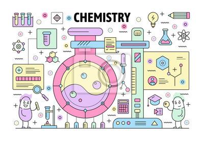Wektor cienka linia chemii plakat szablon transparent
