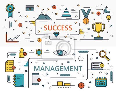Wektor cienka linia płaska Sukces i koncepcji zarządzania banery
