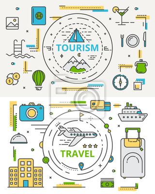 Wektor cienka linia płaska turystyki i podróży koncepcji bannes