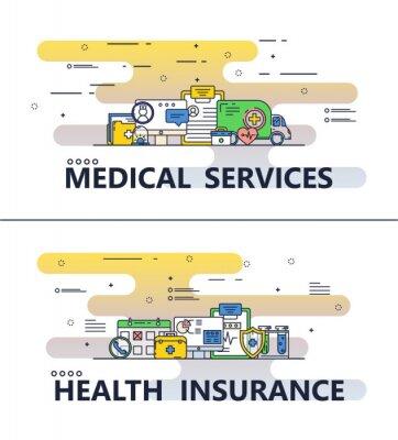 Wektor cienka linia szablon transparent medycznych plakat