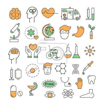 Wektor cienka linia sztuka styl medycyna projekt ikony