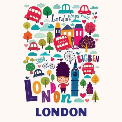 Obraz Wektor kolorowy wzór z symboli Londynu