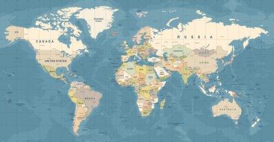 Obraz Wektor mapy świata. Szczegółowa ilustracja mapy świata