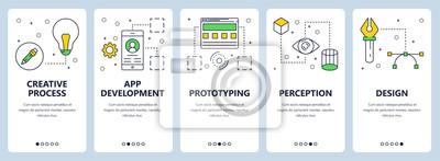Obraz Wektor nowoczesne cienka linia koncepcja kreatywnych sieci web transparent zestaw