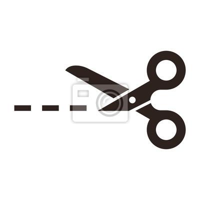 Obraz Wektor nożyczki z linii cięcia