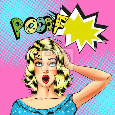 Wektor pop-artu piękna blond kobieta z bańki mowy Blow