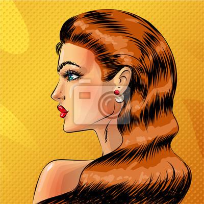 Wektor pop-artu piękny portret rudy kobieta
