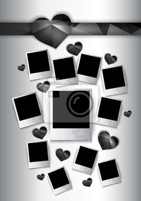 Wektor ramki z czarnymi sercami zdjęcia