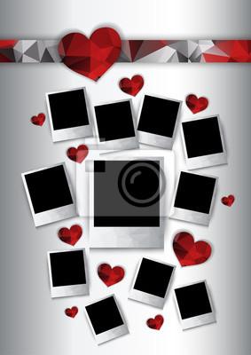 Wektor ramki z czerwonym serca zdjęcia