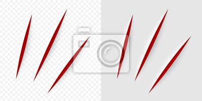 Obraz Wektor realistyczne czerwone cięcie z nożem biurowym