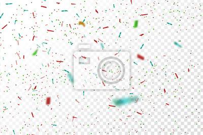 Obraz Wektor realistyczne kolorowe konfetti na przejrzystym tle. Pojęcie szczęśliwy urodziny, imprezy i święta.