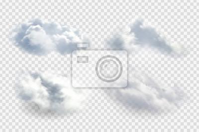 Obraz Wektor realistyczne pojedyncze chmury na przezroczystym tle.