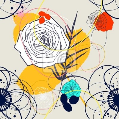 Wektor Retro kwiatu (bez szwu deseń)