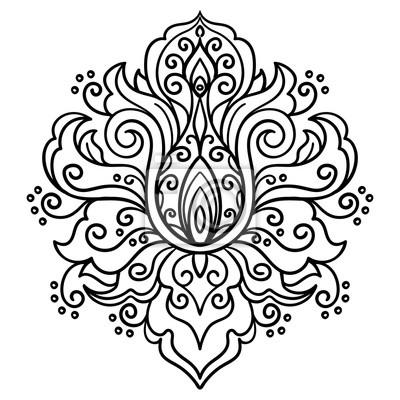 Wektor Streszczenie Orientalny Styl Kwiat Lotosu Tatuaż Obrazy Redro