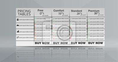 Wektor szablon projektu tabeli cen dla planów biznesowych.