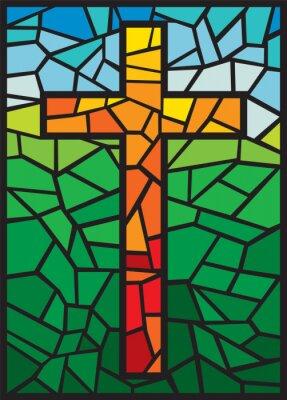 Obraz wektor szkło barwione krzyż