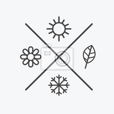 Obraz Wektor ustawić cztery sezony ikony. pora roku zimą wiosenna jesień. Styl płaski, proste elementy linii. Prognoza pogody. słońce, kwiat, płatka śniegu, symbole liści