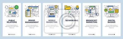 Wektor witryny szablon liniowy ekrany onboarding sztuki liniowej. Banery menu do tworzenia stron internetowych i aplikacji mobilnych.