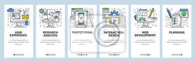 Wektor witryny szablon liniowy ekrany onboarding sztuki liniowej. Banery menu do tworzenia stron internetowych i aplikacji mobilnych. Ilustracja płaski nowoczesny design.