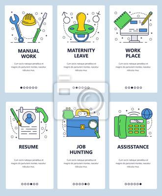 Obraz Wektor witryny szablon liniowy ekrany onboarding sztuki liniowej. Narzędzia dla pracowników budowlanych, CV, teczki i telefon. Banery menu do tworzenia stron internetowych i aplikacji mobilnych. Ilust