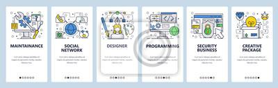 Obraz Wektor witryny szablon liniowy ekrany onboarding sztuki liniowej. Projektant, kodowanie stron internetowych, bezpieczeństwo biznesu. Banery menu do tworzenia stron internetowych i aplikacji mobilnych.
