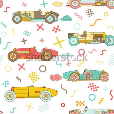 Obraz Wektor wyścig retro sport samochodowy wzór. Roczników samochody odizolowywający na białym tle. Wzór stylu Memphis