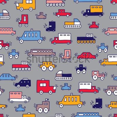 Obraz Wektor wzór dla dzieci w maszynach liniowych. Może być stosowany do tapet, tekstyliów, kart z zaproszeniami, zawijania, tła strony internetowej.