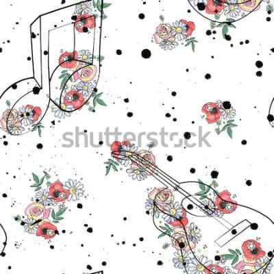 Obraz Wektor wzór graficzny ilustracja nut muzyki na gitarze, kwiaty liście gałąź kroplówka zmaza plamę atrament, splodge, spray Rysunek szkic styl doodle Artystyczny streszczenie sylwetka akwarela