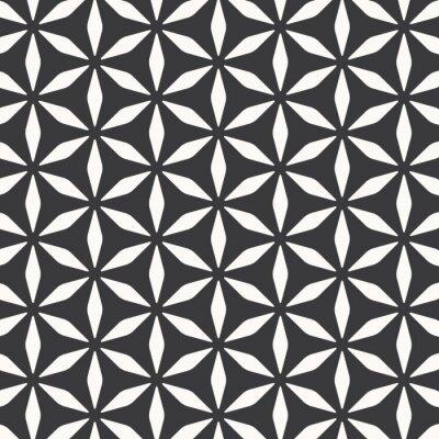Obraz Wektor wzór, powtarzając abstrakcyjne kwiaty, stylowy kształt geometryczny monochromatyczny