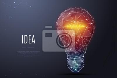 Obraz Wektor Żarówka z jasnym światłem. Model szkieletowy i punkty Low Poly. Poligonalny 3D biały jaskrawy ciepły światło na ciemnym tle. Pomysł z trójkątem geometrii. Abstrakcjonistyczny lampowy żarówki br