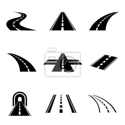 Obraz wektor zestaw drogowy czarny samochód ikony. Symbole autostradzie. Znaki drogowe