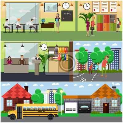 Wektor zestaw elementów projektu koncepcji szkoły w stylu płaskiej