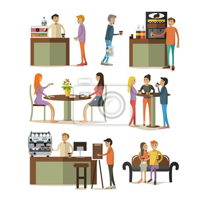 Wektor zestaw elementów projektu pokoju kawy w stylu płaskiej