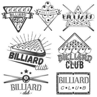 Wektor zestaw etykiet bilardowe w stylu vintage. sport concept. Bilard cue i bale.