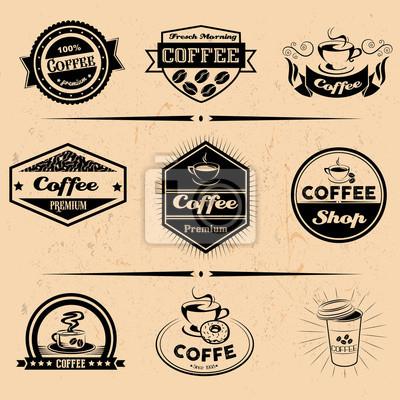 Wektor zestaw etykiet kawy, elementy projektu, emblematy i odznaki. Izolowane logo ilustracji w stylu vintage