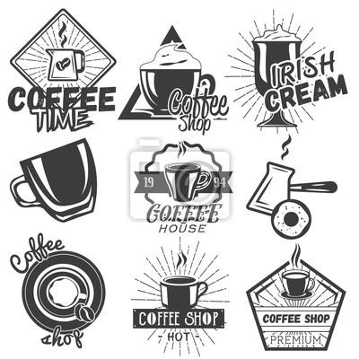 Wektor zestaw etykiet kawy i kawiarnia w stylu vintage. Elementy konstrukcyjne, emblematy, plakietki, ikony.
