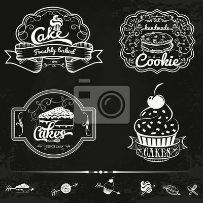 Wektor zestaw etykiet piekarniczych i ciast, elementów konstrukcyjnych, emblematy, naszywki. Izolowane logo ilustracji w stylu vintage