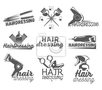 Wektor zestaw etykiet salon fryzjerski w stylu vintage. Sklep kosmetyczny i fryzjerski, nożyczki, ostrza.