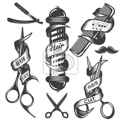 Wektor zestaw etykiet salonie fryzjerskim wektorowych w stylu vintage. Włosów wyciąć kosmetyczny i fryzjerski sklep, nożyczki, ostrza.