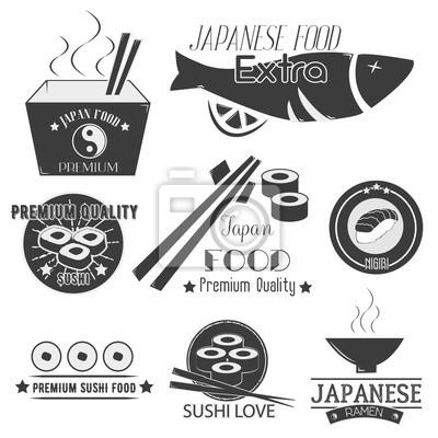 Wektor zestaw etykiet sushi. Japońskie jedzenie restauracja logo, ikony. Kuchnia azjatycka ilustracji.