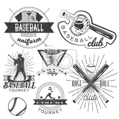 Wektor zestaw etykiet z daszkiem w stylu vintage. sport concept. Bat i piłka.