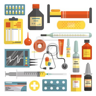 Wektor zestaw ikon szpitala i medycznych w stylu płaskim
