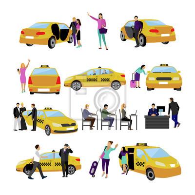 Wektor zestaw ikon taxi na białym tle. Osoby korzystające z Yellow Cab.