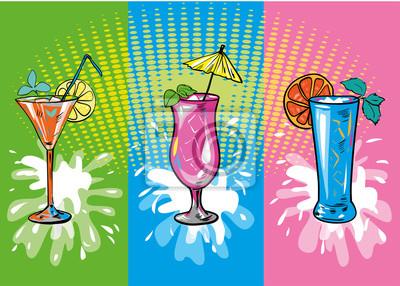 Wektor zestaw kolorowych koktajli i drinków szkicu