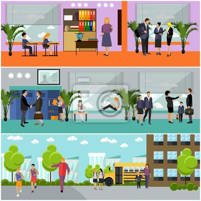 Wektor zestaw koncepcji szkoły banery. Wnętrze budynku, uczniowie studiujący w klasie, nauczyciele