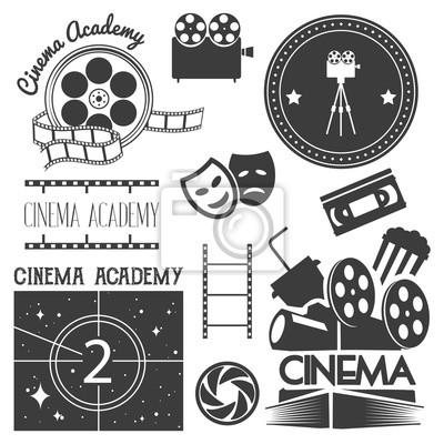 Wektor zestaw logo kina, etykiety. Plakietki filmowe i teatralne, emblematy, znaki. Ilustracja w stylu retro retro.