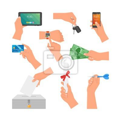 Wektor zestaw ludzkich rąk gospodarstwa pieniędzy, karty kredytowej, telefonu i klucza. Elementy projektu, ikony samodzielnie na białym tle