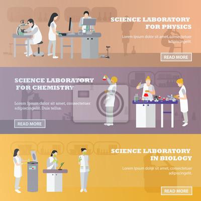 Wektor zestaw medycznych banerów laboratoryjnych. Ilustracja w stylu płaskiej konstrukcji. Lekarze i naukowcy pracujący w laboratorium